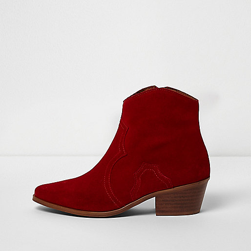 Red suede western ankle boots