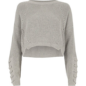 Grey lace-up eyelet sleeve cropped sweater