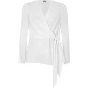 White wrap front tie waist blouse