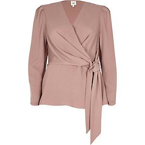 Dark pink wrap tie front blouse