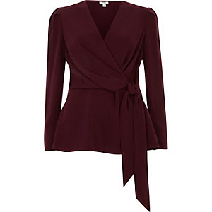 Dark red tie front wrap blouse