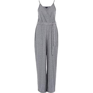 Dark grey rib wide leg wrap belted jumpsuit