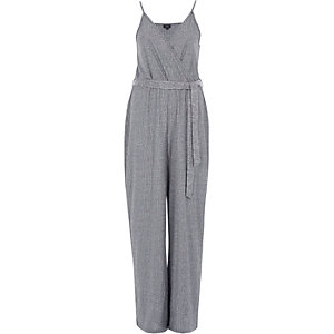 Dark grey rib wide leg wrap belted jumpsuit