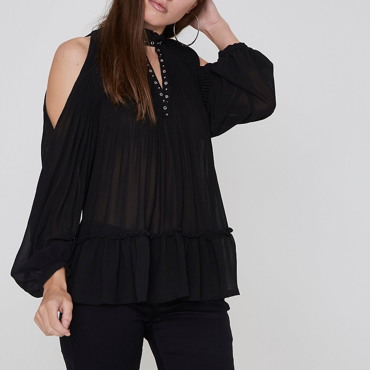 Petite black pleated eyelet high neck top