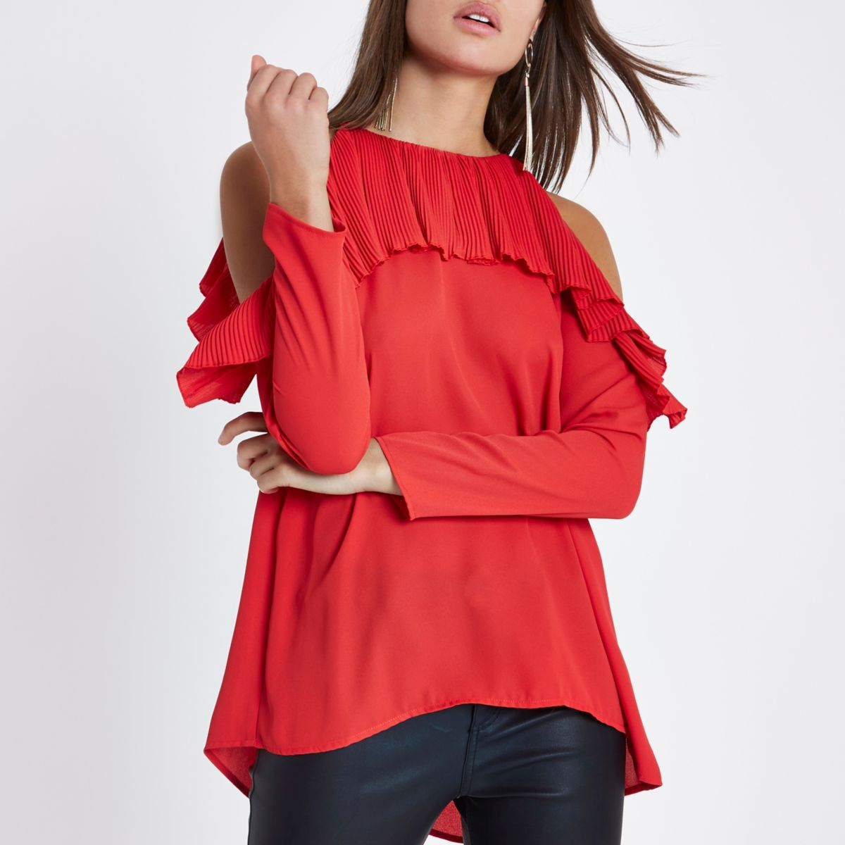 Red cold shoulder pleated frill blouse