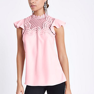 Pink lace trim frill sleeve high neck top