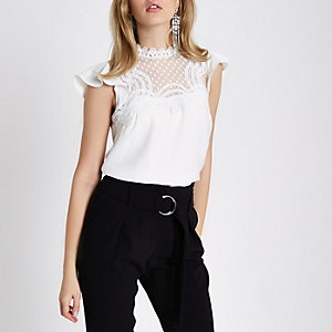 White lace trim frill shoulder top