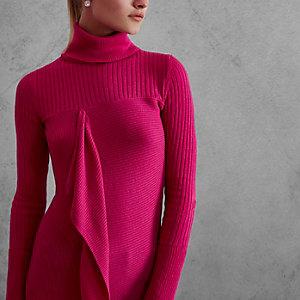 Pink RI Studio rib knit roll neck jumper
