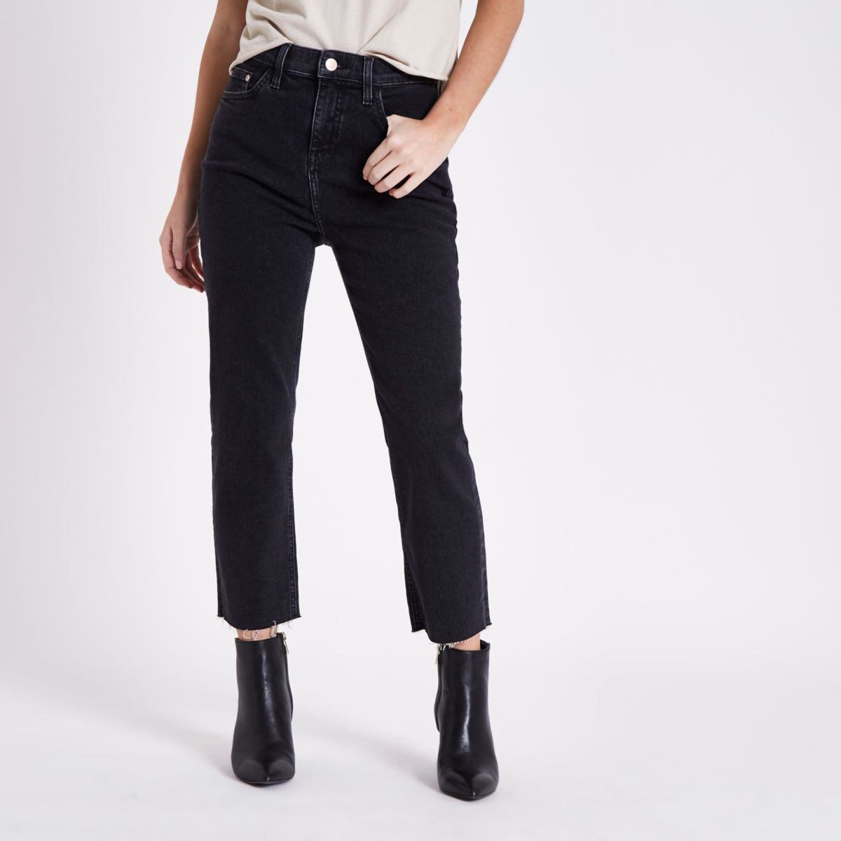 Petite black Bella straight leg jeans