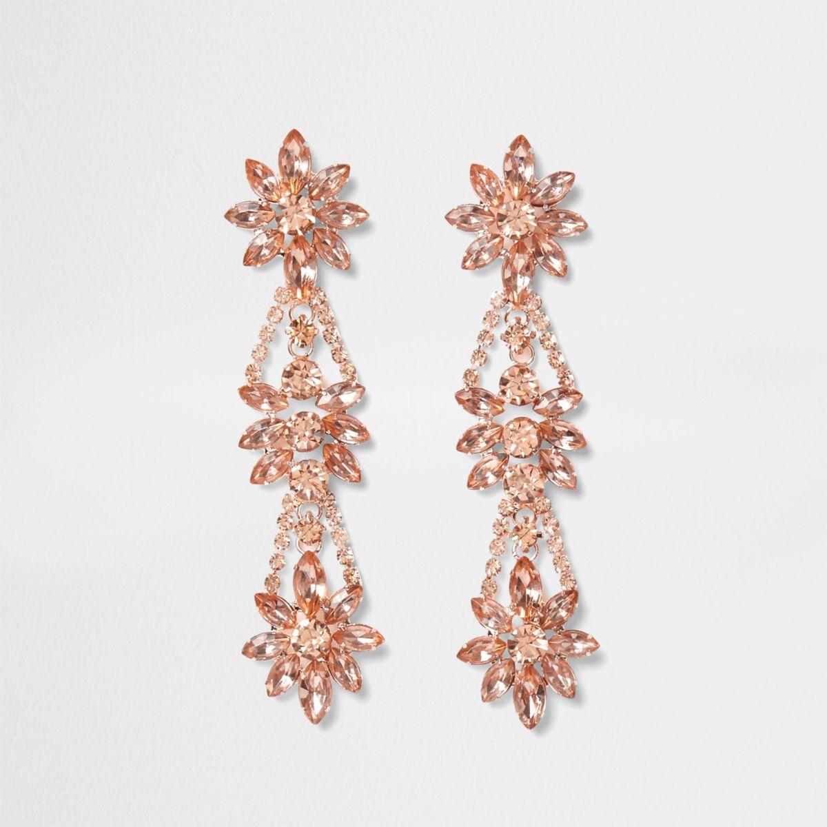 Rose gold tone flower jewel drop earrings