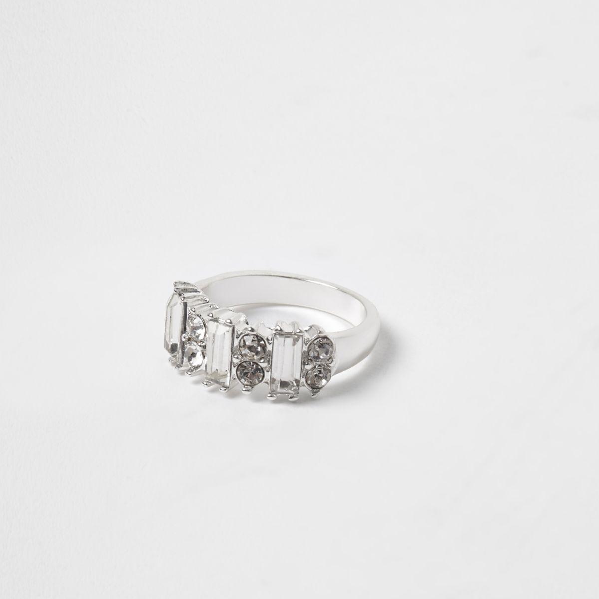 Silver tone baguette diamante ring