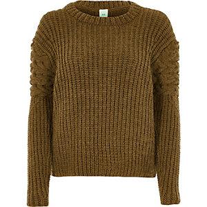 Khaki chunky cable knit sleeve jumper