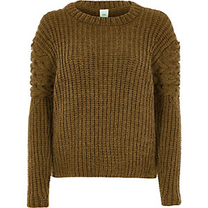 Khaki chunky cable knit sleeve jumper