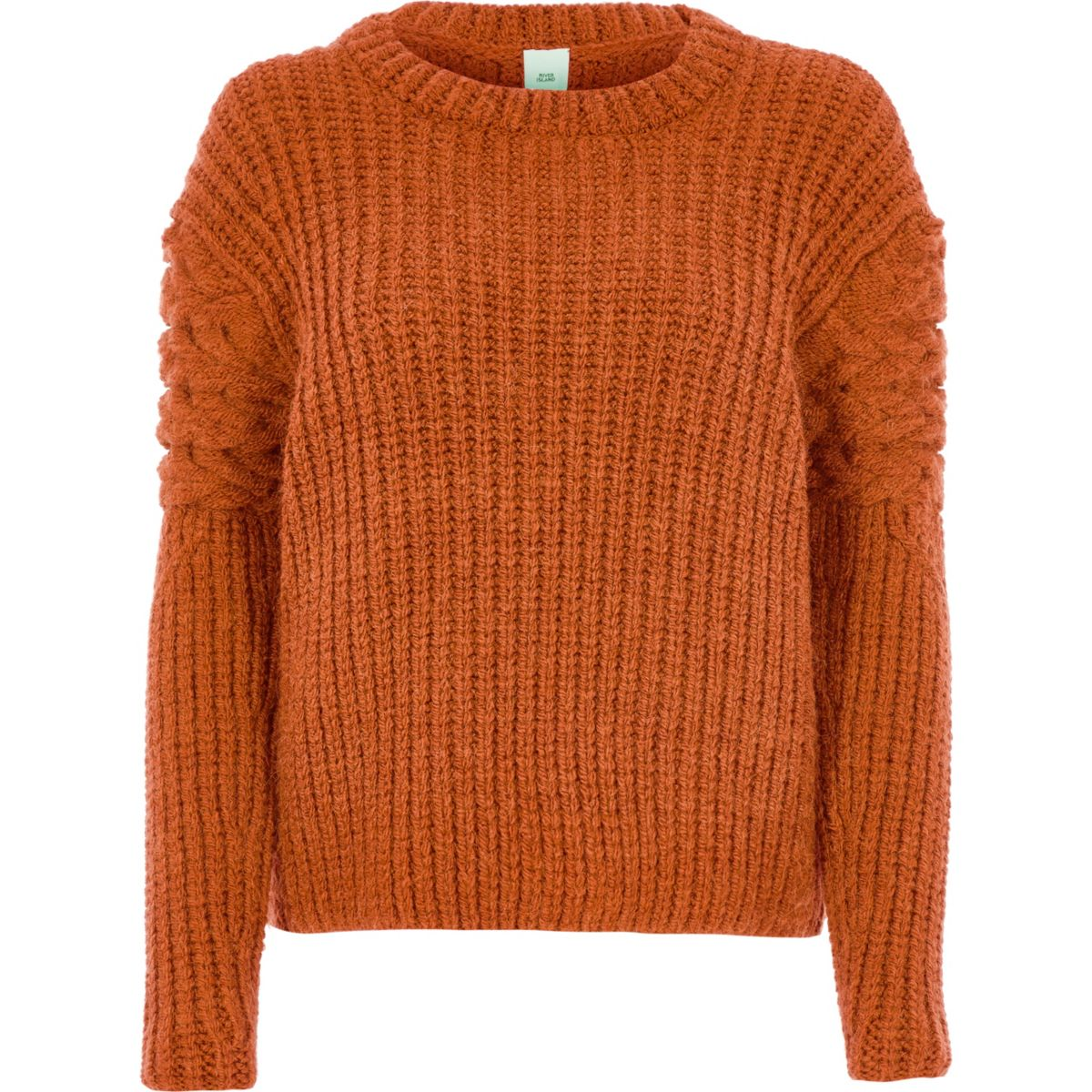 Orange chunky cable knit sleeve sweater
