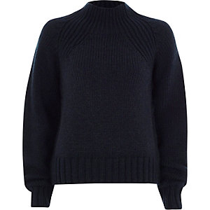Navy high neck chunky knit sweater