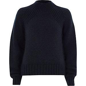 Marineblauwe hoogsluitende grofgebreide pullover