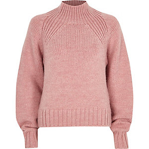Pink high neck chunky knit jumper