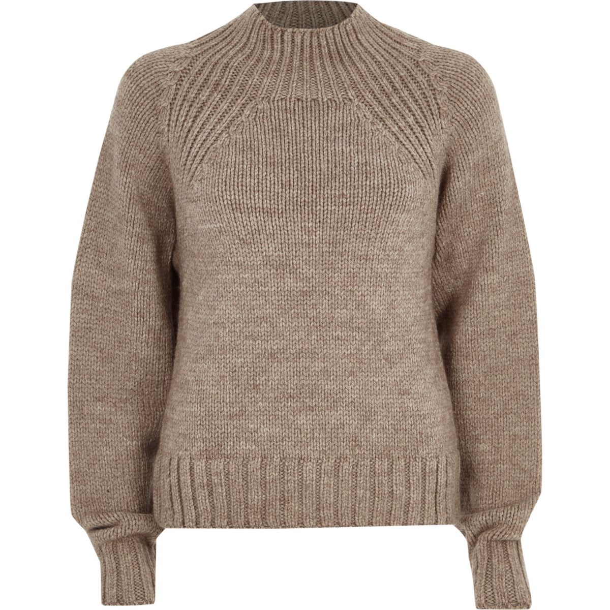 Mink brown high neck chunky knit jumper
