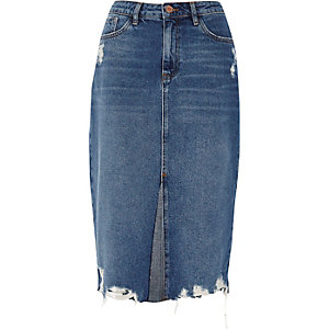 Mid blue denim distressed hem pencil skirt