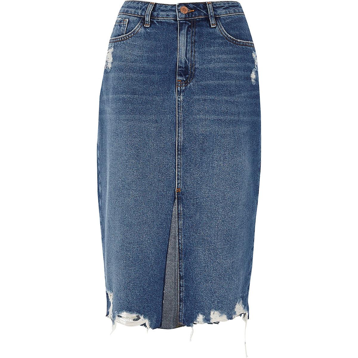 Mid blue denim distressed hem pencil skirt