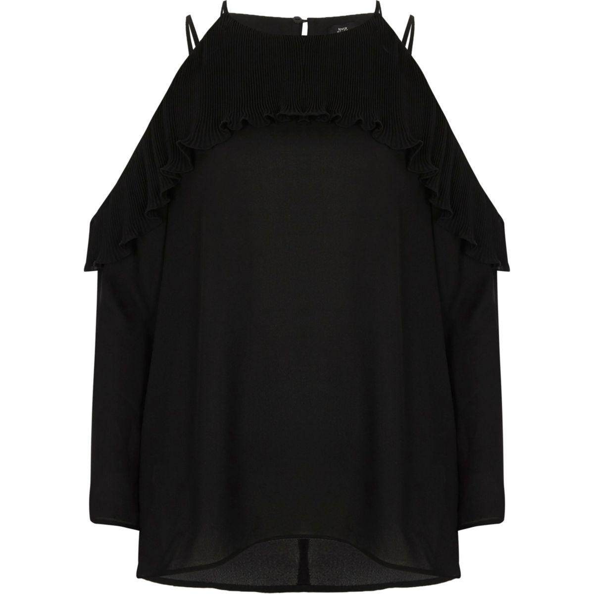 Zwarte schouderloze blouse met plooien en ruches