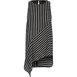 Zwart gestreept hemdje met asymmetrische zoom en print