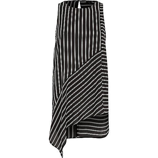 Black stripe print asymmetric hem tank