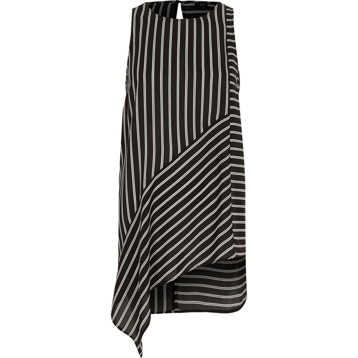 Black stripe print asymmetric hem vest
