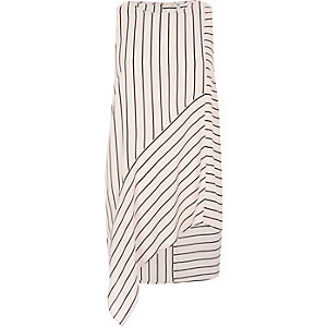 Pink stripe print asymmetric hem vest