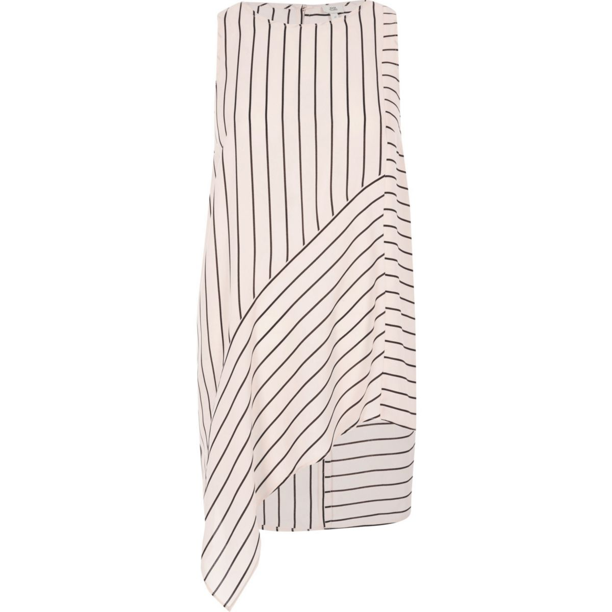 Pink stripe print asymmetric hem tank