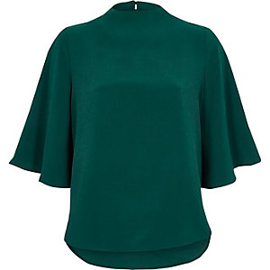Teal green high neck cape sleeve top