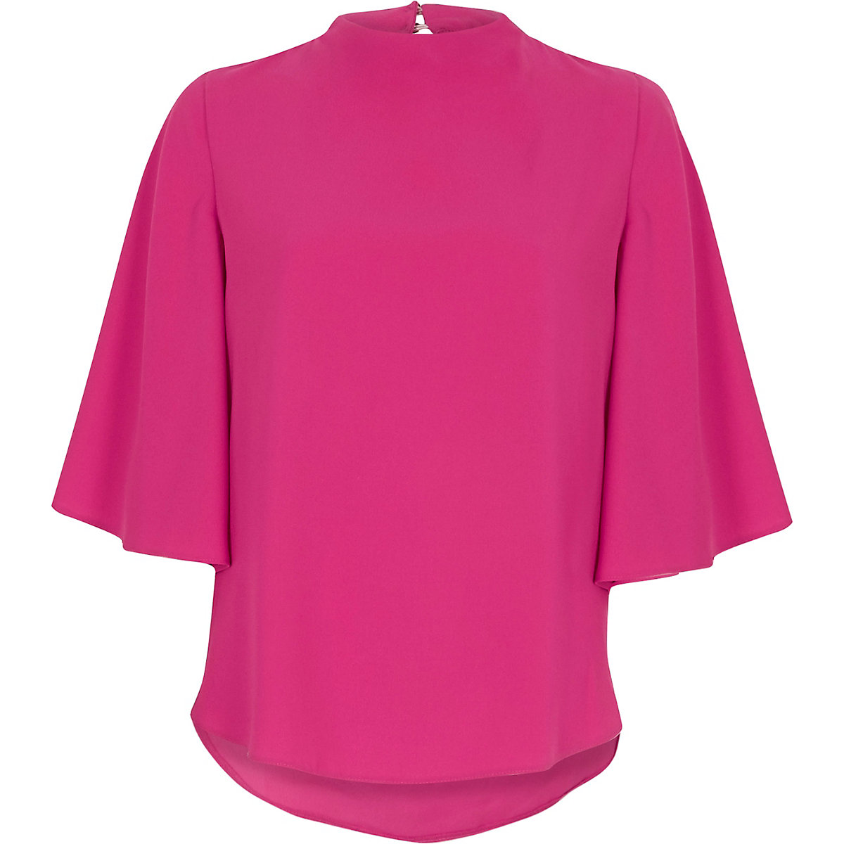 Pink high neck cape sleeve top