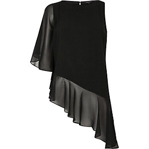 Black asymmetric frill hem top
