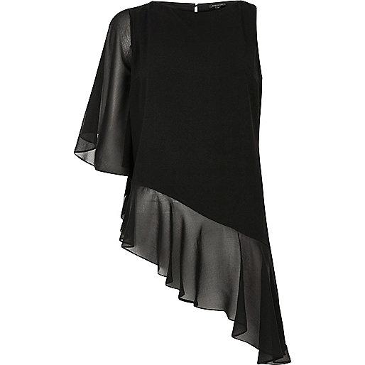 Black asymmetric frill hem top