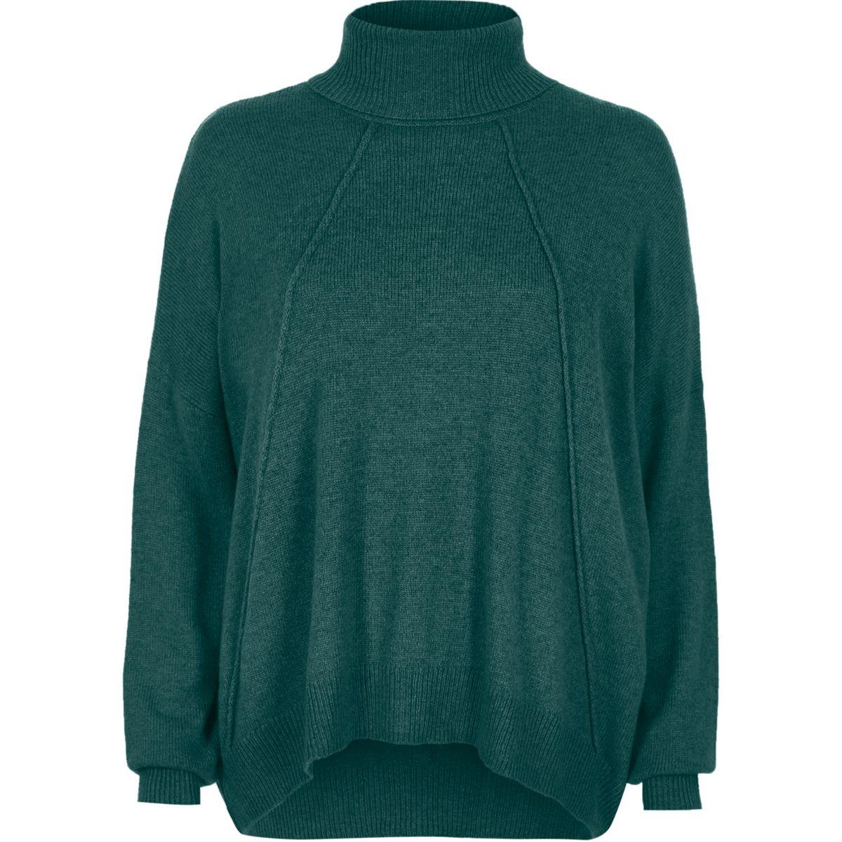 Green roll neck exposed seam jumper