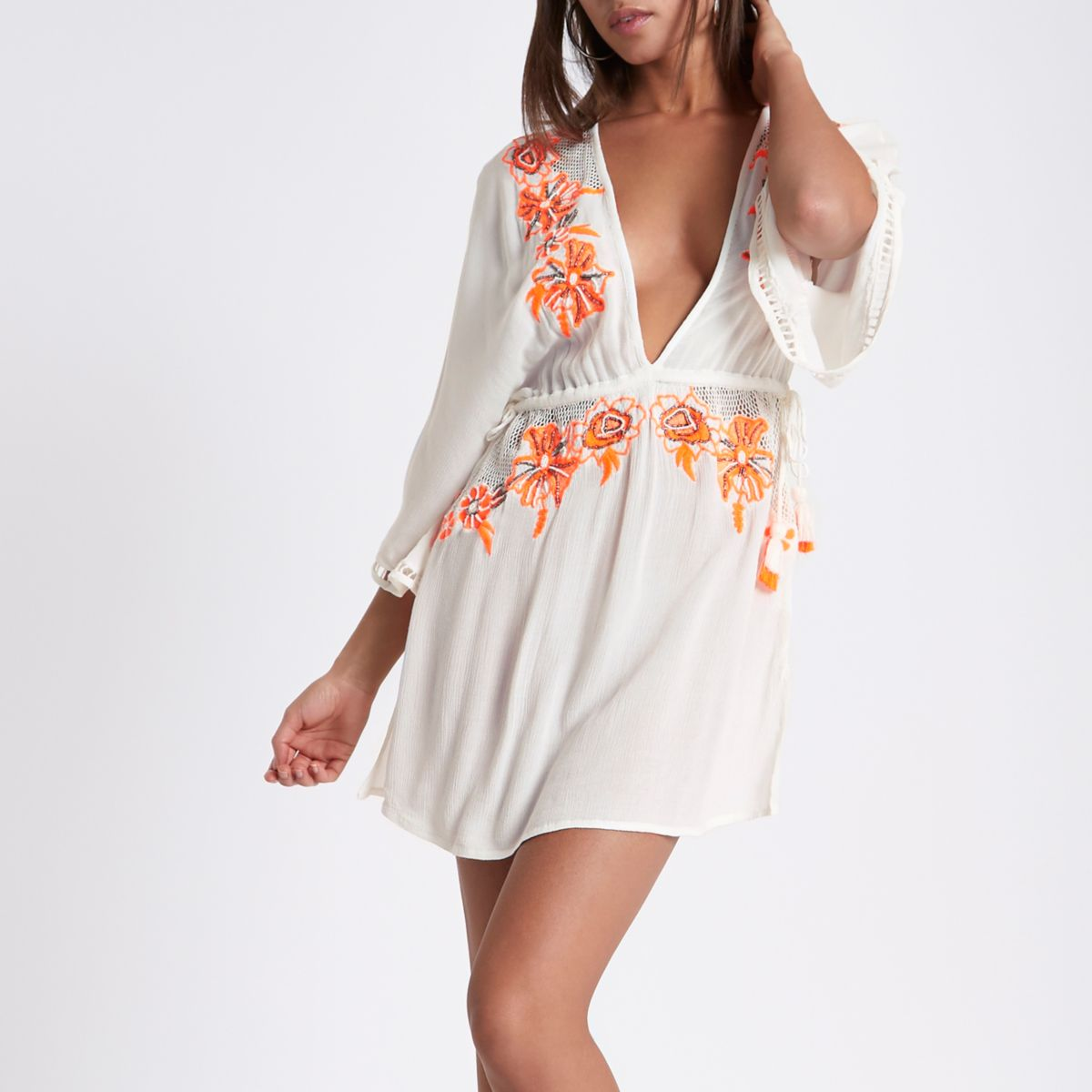 Cream floral embroidered beach cover up