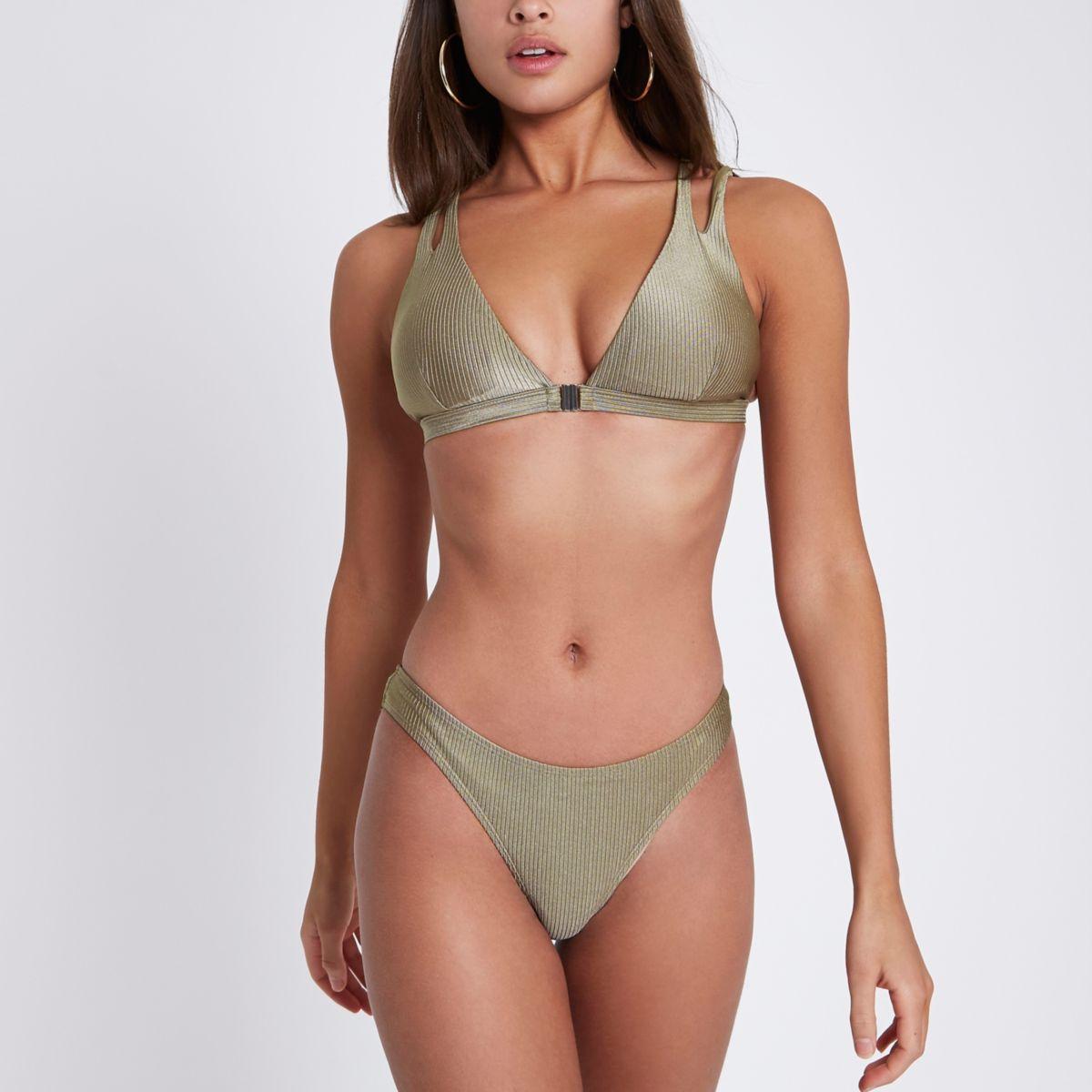 Kaki geribbeld hoogopgesneden bikinibroekje