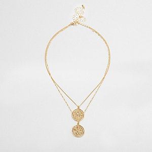 Gold tone double layer coin necklace