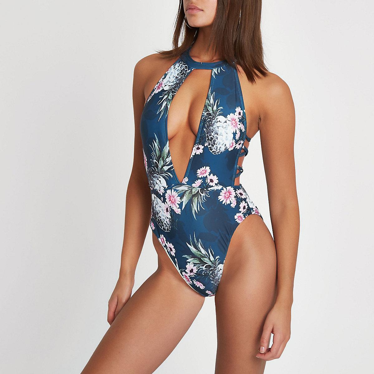 6b0e04e857 Navy floral print high neck cut out swimsuit - Swimsuits - Swimwear    Beachwear - women