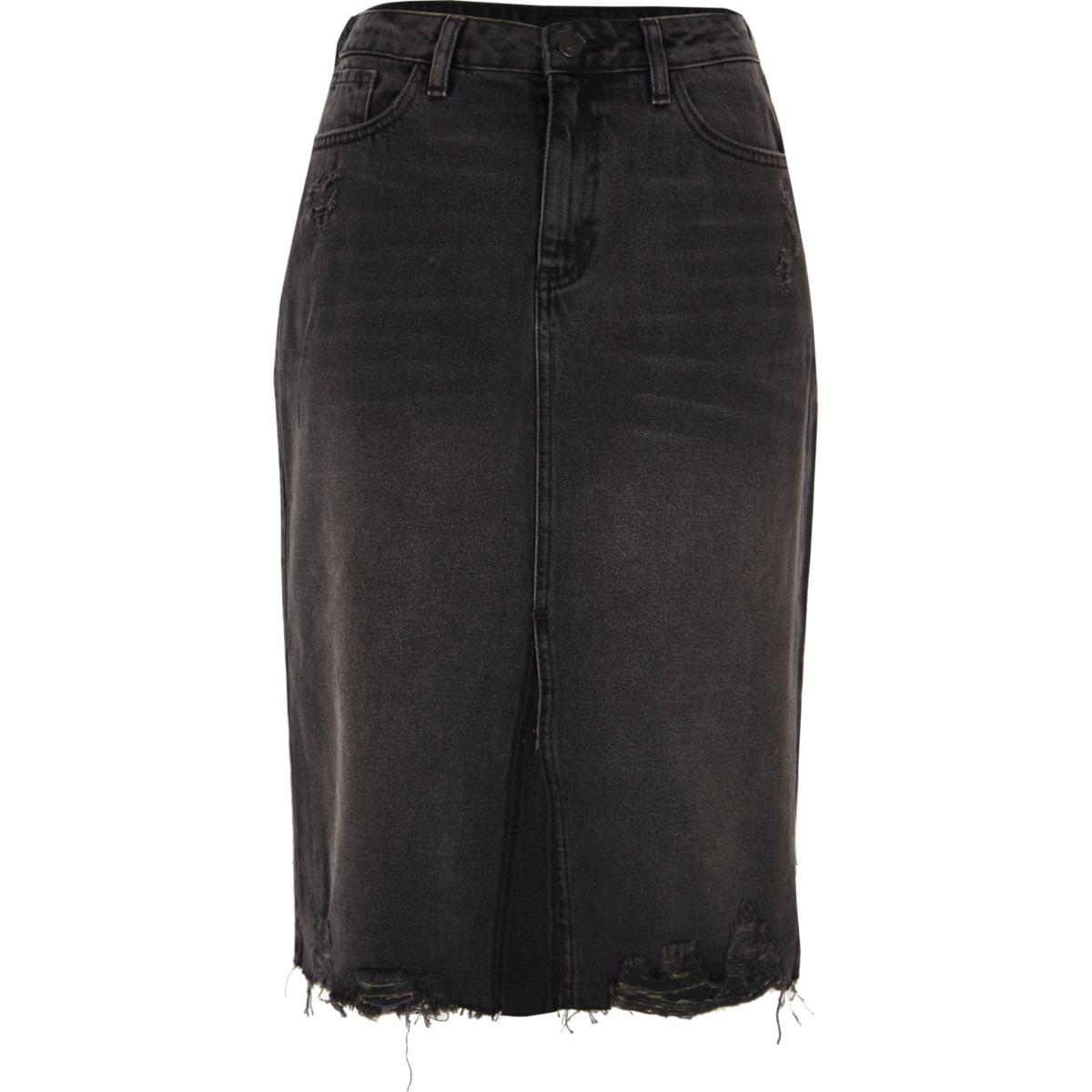 Black distressed split hem denim pencil skirt
