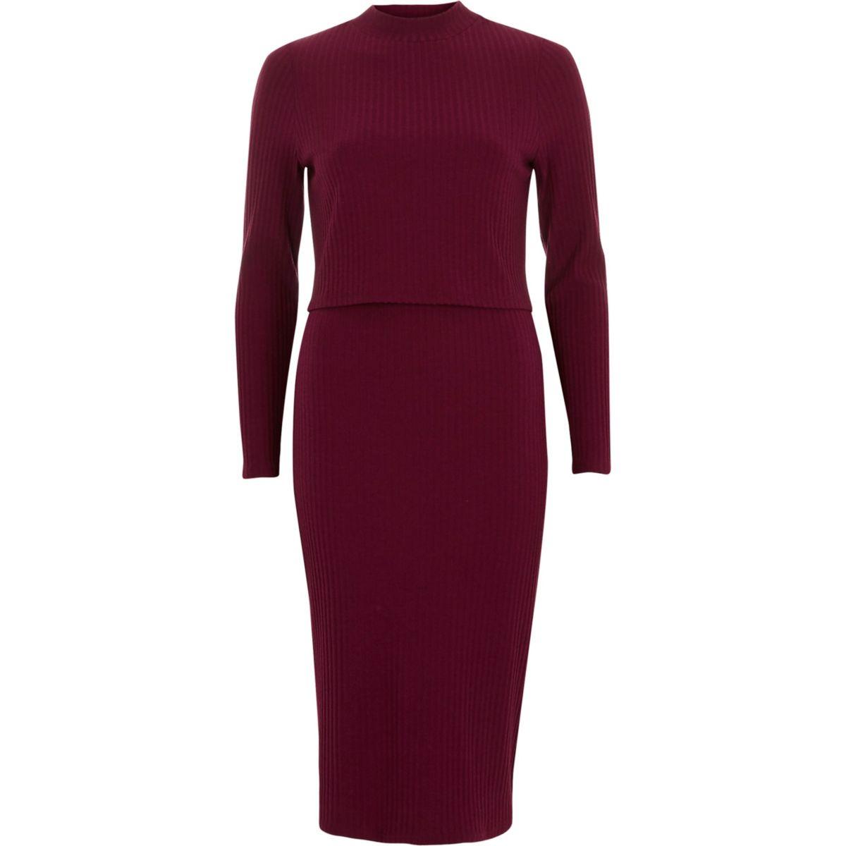 Burgundy rib double layer bodycon midi dress