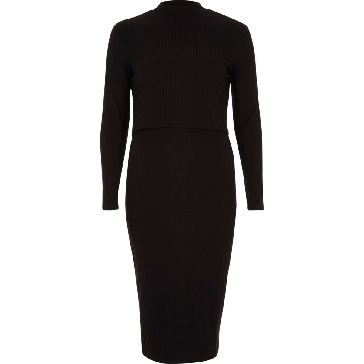 Black rib double layer bodycon midi dress