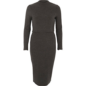 Dark grey ribbed high neck layered midi dress