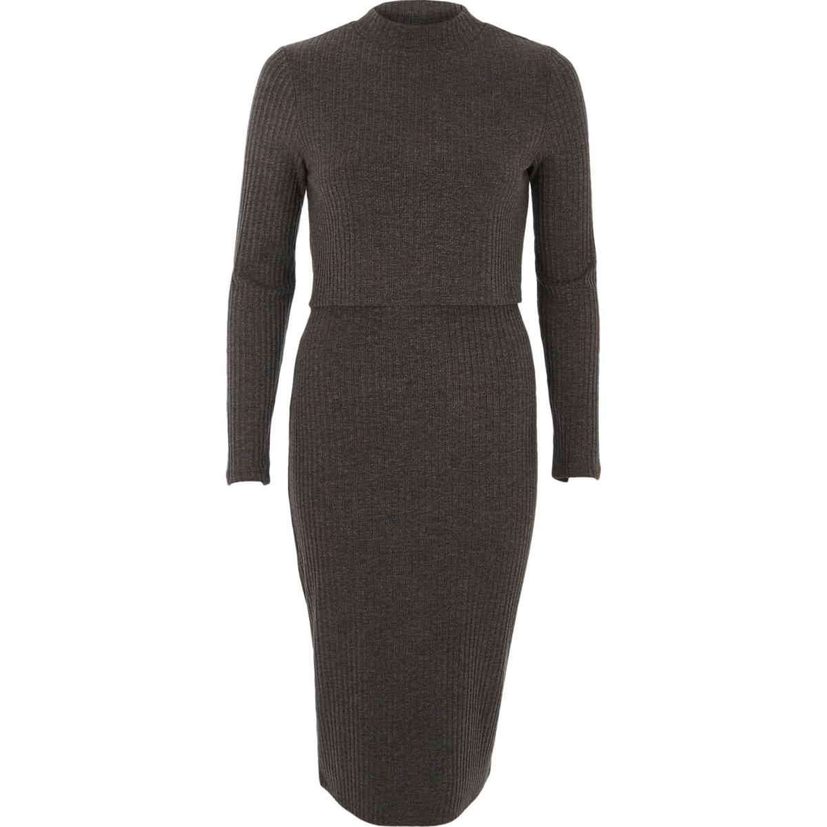 Dark grey ribbed high neck layered midi dress