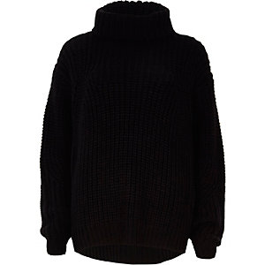 Black chunky roll neck fisherman jumper