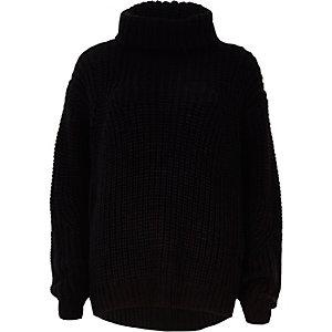 Pull noir épais style pêcheur à col roulé