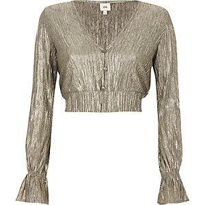 Gold metallic plisse long sleeve crop top