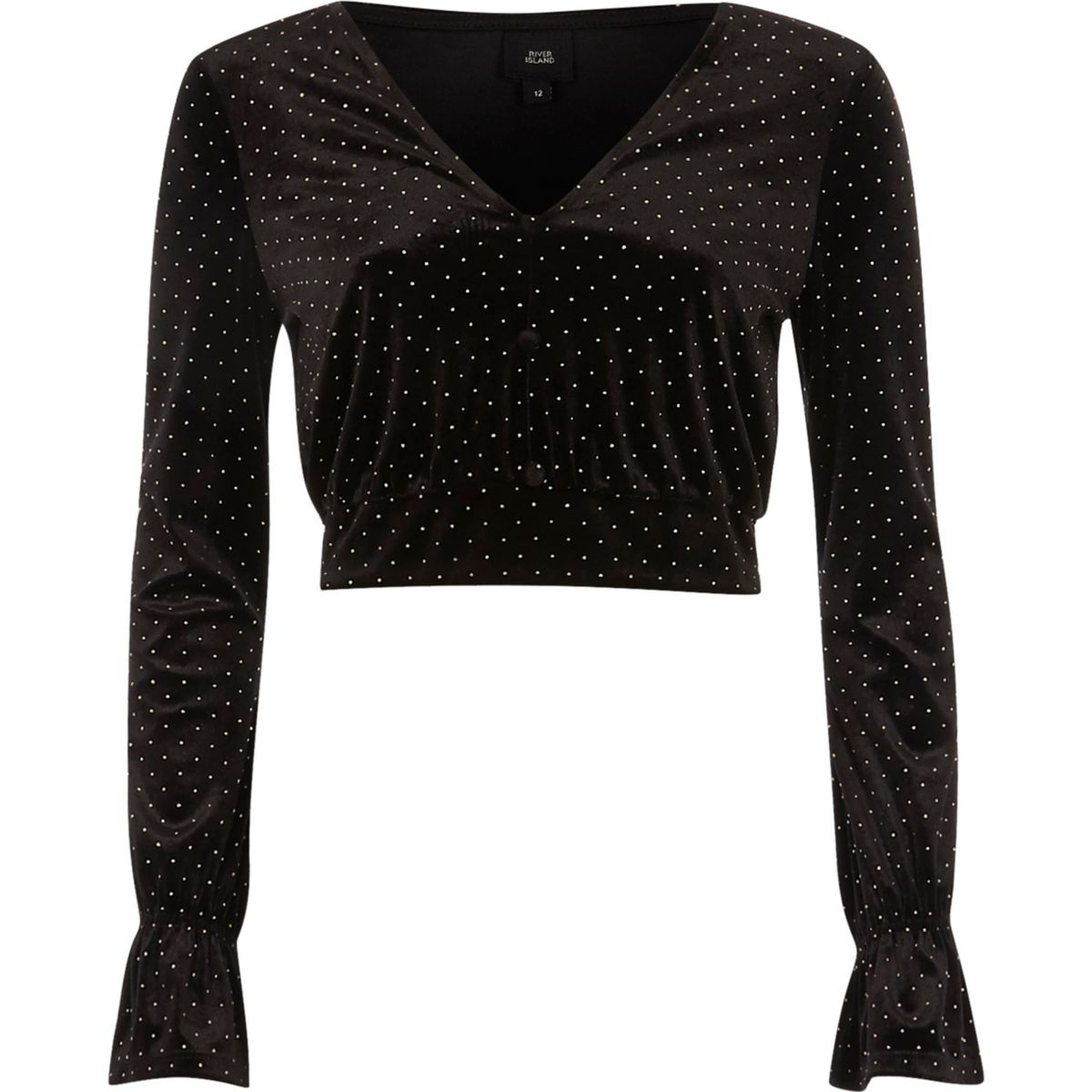 Black studded velvet long sleeve crop top