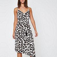 Brown leopard print midi slip beach dress