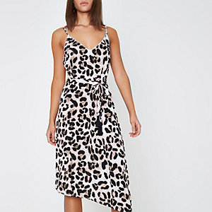 Brown leopard print midi slip beach dress